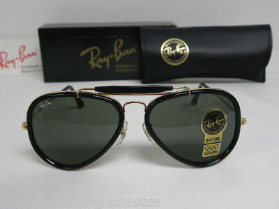 New Vintage B&L Ray Ban Traditionals Style G Black Outdoorsman Aviator W0744 (Outdoorsman Style)