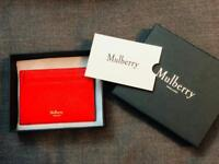 Genuine MULBERRY Credit Card Slip in Fiery Red Small Classic Grain