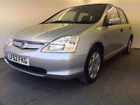 2002 | Honda Civic 1.6 SE | Auto |Petrol | 3 Former Keepers | 1 Year MOT |Full Honda Service History