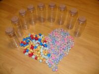 3D Origami Lucky Stars Over 400 - Glass Jars and Cork x9 - Handmade Job Lot Bundle Valentine Gift