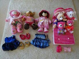 Build A Bear Mega Bundle - 3 bears, 4 buddies/minis, fold away bed, 2 spare outfits, 2 spare tops