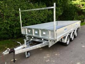 Flatbed trailer dale kane tri axle dropside trailer