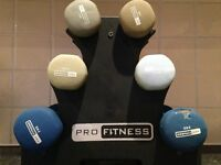 6 Pro Fitness dumbbells ( 2 x 2kg, 2 x 1.5kg, 2 x 1kg) complete with Tree stand