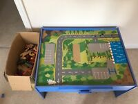 Play Table & Box of Wooden Track/Trains