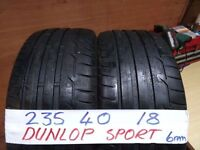 matching pair of 235 40 18 dunlops 6mm tread £80 pair sup & fittd(LOADS MORE AV 7-DAYS)