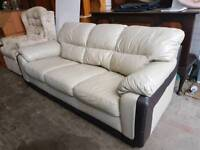 Large leather 3 seater sofa