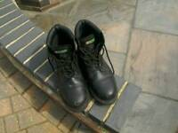 """""""Click"""" brand Size 11 Steel toe and mid sole work boots."""