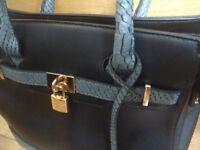 Black Snakeskin Leather Tote Handbag Gold Padlock Detail