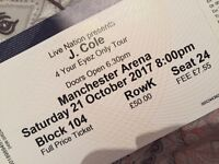 X2 J.cole tickets for Manchester (lower tier)