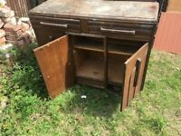 Old Art Deco Wooden Cabinet / Wardrobe