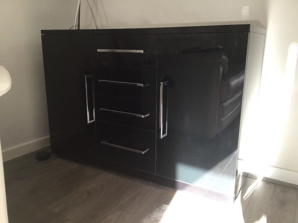 Black Gloss 2 door, 4 drawer Sideboard For Sale.