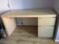 Ikea desk, light birch colour, 1 drawer and 1 cupboard