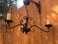 VINTAGE ORNATE GOTHIC TUDOR STYLE WROUGHT IRON 3 ARM LIGHT FITTING WITH CANDLE EFFECT BULB HOLDERS