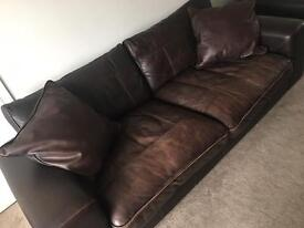 DFS Zennah leather four seater sofa