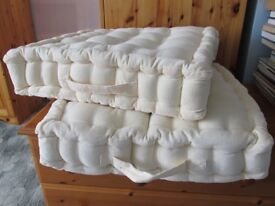 Pair of Cream Booster Cushions 20in x 20in (approx 50cm) - New