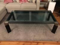Metal & glass rectangular coffee table