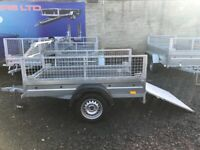 BRAND NEW MODEL 6X4 SINGLE AXLE TRAILER WITH 40CM MESH AND RAMP 750KG