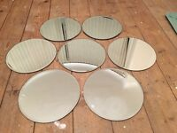 """7 round mirror table centrepieces size 10""""diameter, for weddings or parties"""
