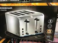 Russell Hobbs Buckingham 4 slice toaster silver, new in box.
