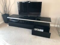TV stand with drawers, black, glass, 1800mm wide. Great condition.