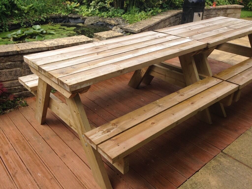 pub style garden table with bench seats