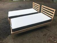 IKEA TARVA SINGLE BED WITH HOVAG MATTRESS