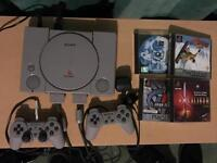 PlayStation 1, 2 controllers, 4 games
