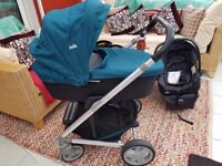 Joie Chrome Jade complete travel system over £450 current value, includes car seat base attachment
