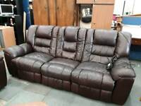 Luxurious Rich Dark Coffee Brown Electric Reclining Sofas.