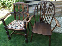 Beautiful pair of antique his and hers chairs, lovely condition