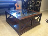 Coffee Table: Large, Square, Dark wood and glass