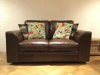 Beautiful Brown Real Leather Sofa 2-Seater Settee Hardly used