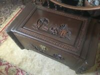 chest carved oriental large blanket chest and matching coffee table