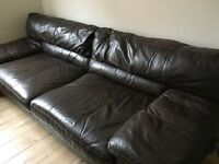 Leather sofa, brown colour.