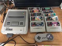 Snes Super Nintendo console & 10 games