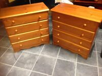 PINE 2 X 4 DRAWER CHEST OF DRAWERS VERY GOOD CONDITION APART FROM A FEW DINKS THAT PINE OFTEN GETS ,