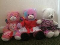3 Build-a-bears with accessories/clothing and shoes