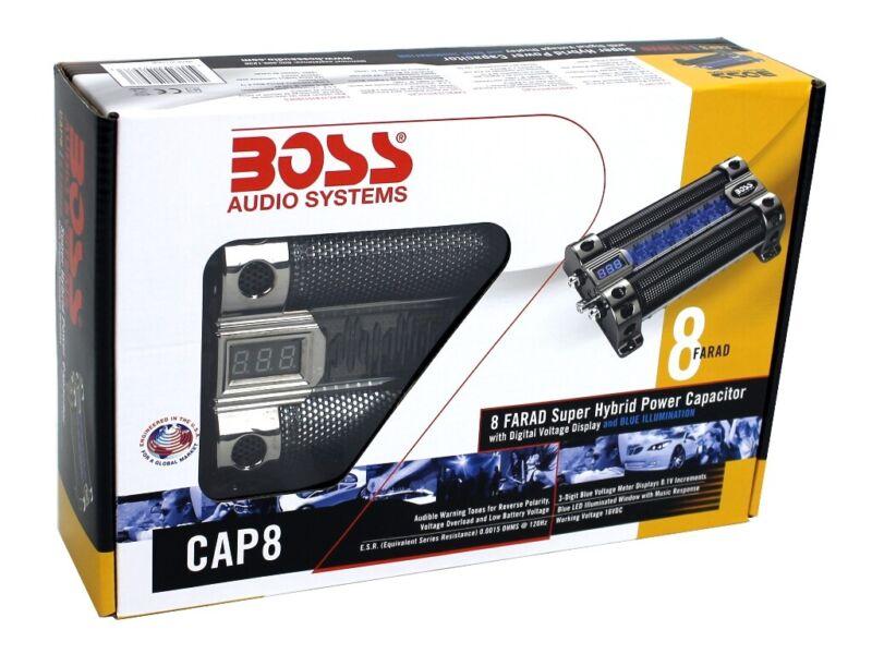BOSS 8 FARAD LED Digital Voltage Display Car Audio Power Capacitor (Refurbished)