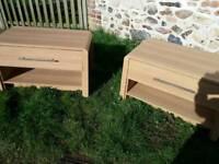Two oak veneer coffee/tv tables