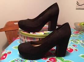 Black Faux Suede chunky platform heels, Atmosphere, U.K. 7. Brand new!