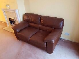 Sturdy Good Condition Leather Two Seater Sofa