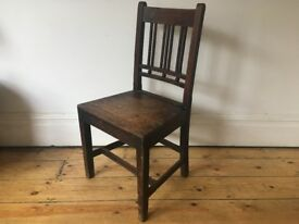 Vintage Oak Panelled Seat Country Kitchen Dining Chair Single