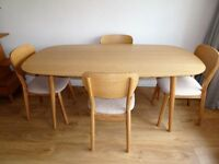 Retro Oslo Oak dining table and 4 chairs AS NEW