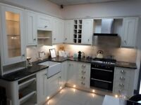 New England Ivory Solid Ash In-frame kitchen with granite worktops