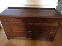 Large/wide antique wood chest of drawers/shelf unit