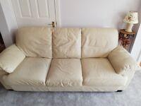 2 piece cream leather sofa.