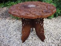 Carved Teak Lamp Table/Occasional Table/Hall Table.