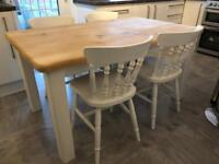 Amazing 5ft Rustic Shabby Chic Pine Table and 4 Chairs