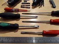 Various screwdrivers and driver bits
