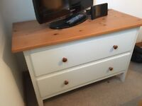 White chest of drawers with wooden top